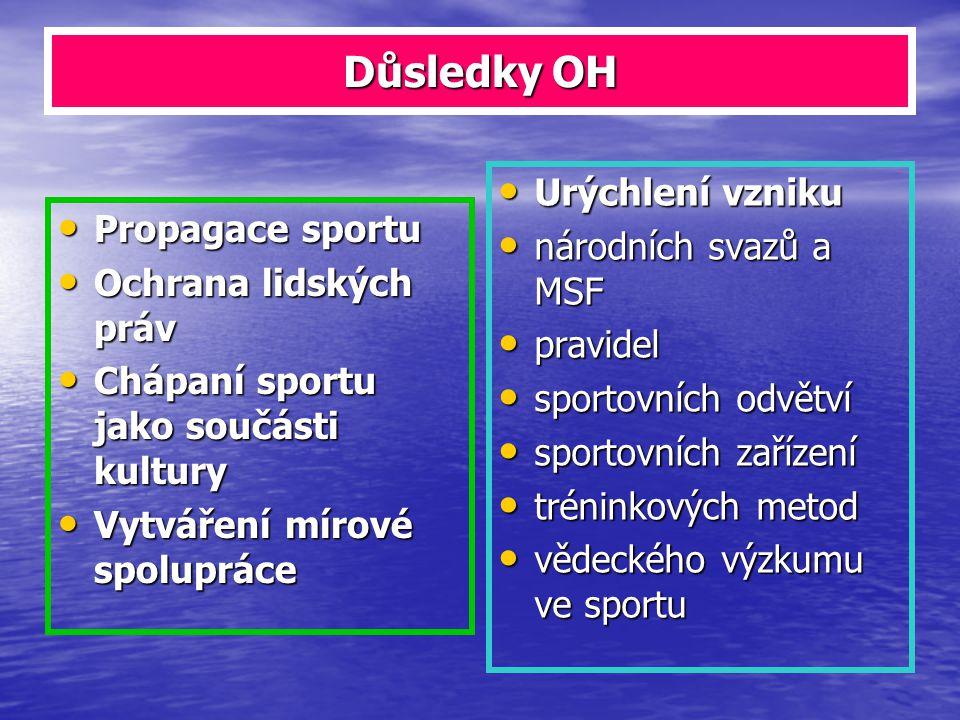 Důsledky OH Propagace sportu Propagace sportu Ochrana lidských práv Ochrana lidských práv Chápaní sportu jako součásti kultury Chápaní sportu jako sou
