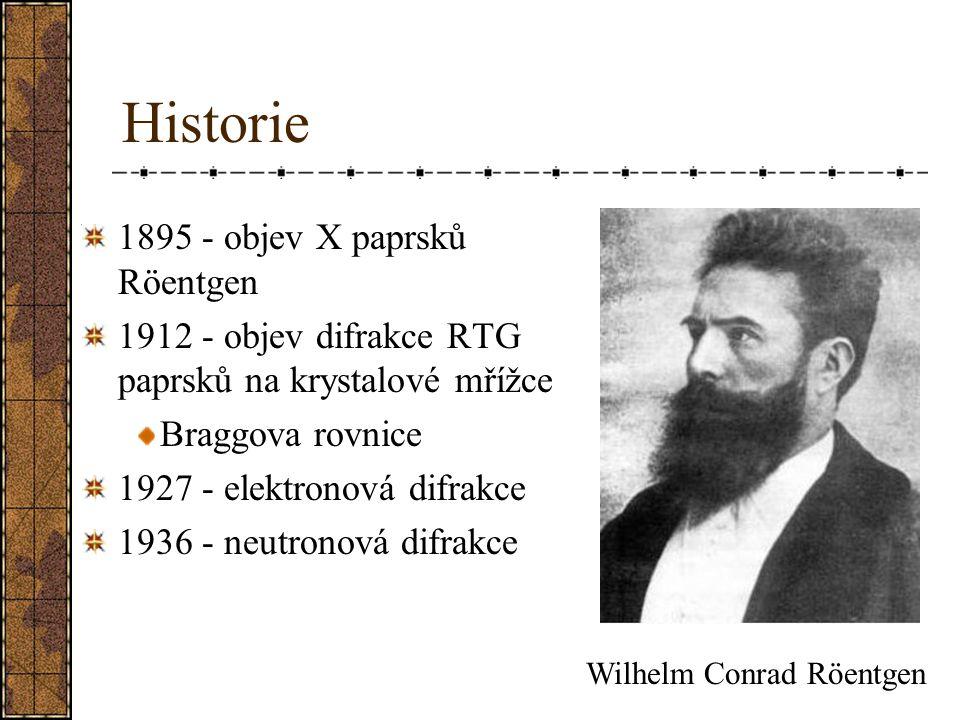 Historie 1895 - objev X paprsků Röentgen 1912 - objev difrakce RTG paprsků na krystalové mřížce Braggova rovnice 1927 - elektronová difrakce 1936 - ne