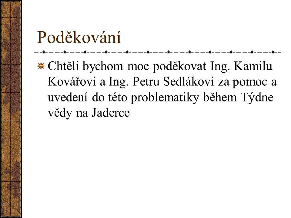 Poděkování Chtěli bychom moc poděkovat Ing. Kamilu Kovářovi a Ing. Petru Sedlákovi za pomoc a uvedení do této problematiky během Týdne vědy na Jaderce