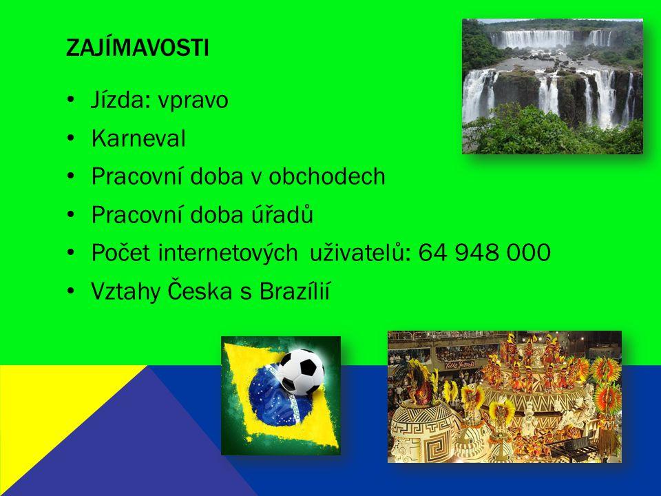 ZDROJE http://www.mzv.cz/brasilia/cz/index.html http://www.businessinfo.cz/cs/clanky/brazilie-ekonomicka-charakteristika-zeme- 18909.html#sec2 http://www.businessinfo.cz/cs/clanky/brazilie-ekonomicka-charakteristika-zeme- 18909.html#sec2 http://www.czechtrade.cz/czechtrade-svet/amerika/brazilie/ http://www.zemepis.com/Brazilie.php http://rozvojovky.vse.cz/st-braz.php