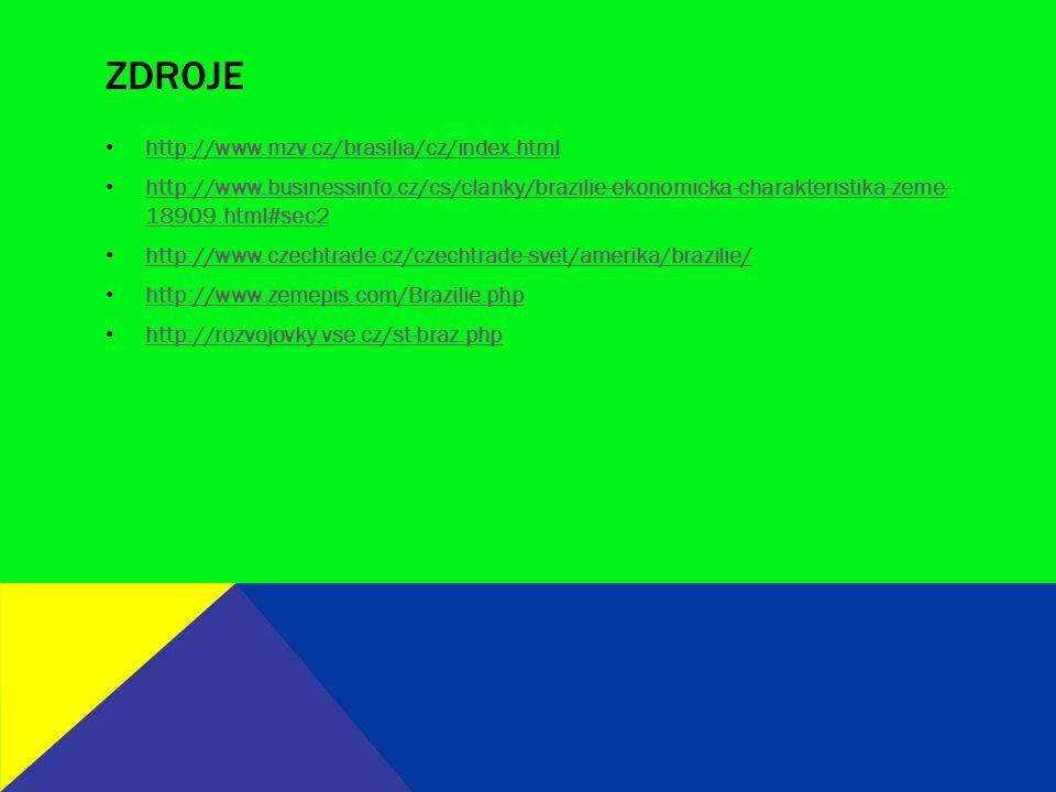 ZDROJE http://www.mzv.cz/brasilia/cz/index.html http://www.businessinfo.cz/cs/clanky/brazilie-ekonomicka-charakteristika-zeme- 18909.html#sec2 http://