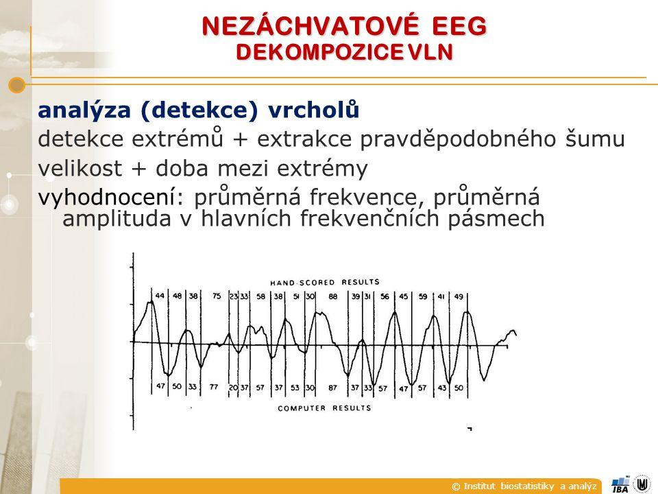 © Institut biostatistiky a analýz analýza (detekce) vrcholů detekce extrémů + extrakce pravděpodobného šumu velikost + doba mezi extrémy vyhodnocení: průměrná frekvence, průměrná amplituda v hlavních frekvenčních pásmech NEZÁCHVATOVÉ EEG DEKOMPOZICE VLN