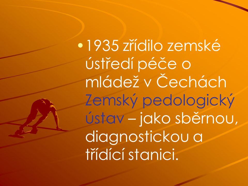 1935 zřídilo zemské ústředí péče o mládež v Čechách Zemský pedologický ústav – jako sběrnou, diagnostickou a třídící stanici.