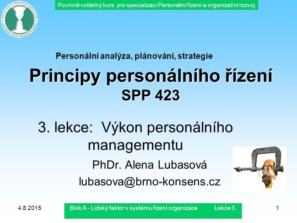 Povinně volitelný kurs pro specializaci Personální řízení a organizační rozvoj 4.8.2015Blok A - Lidský faktor v systému řízení organizace Lekce 3.1 Pr