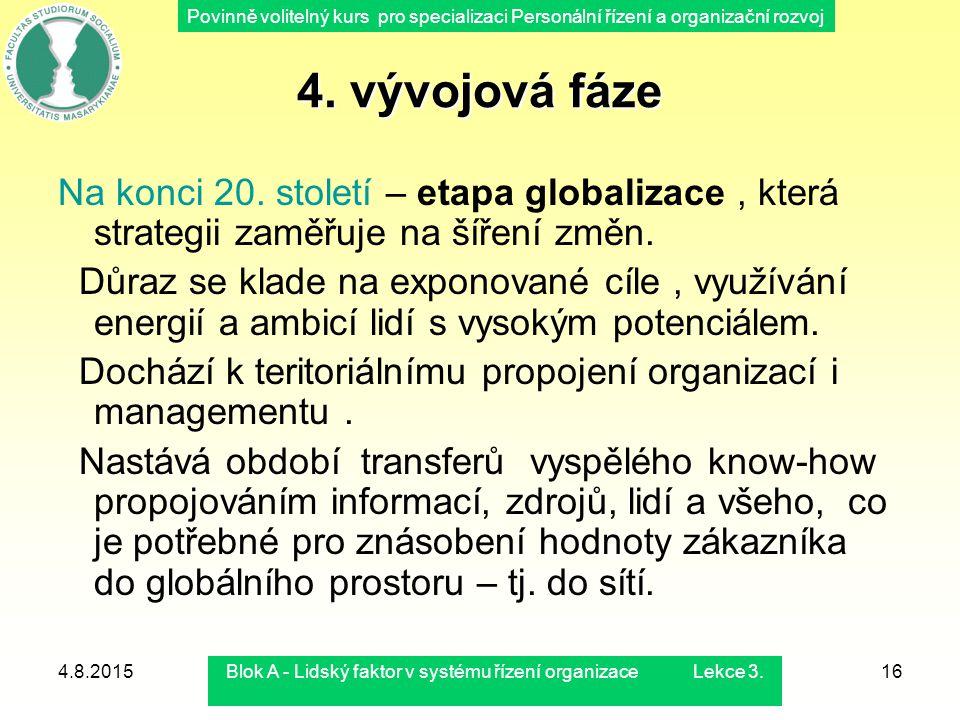 Povinně volitelný kurs pro specializaci Personální řízení a organizační rozvoj 4.8.2015Blok A - Lidský faktor v systému řízení organizace Lekce 3.16 4