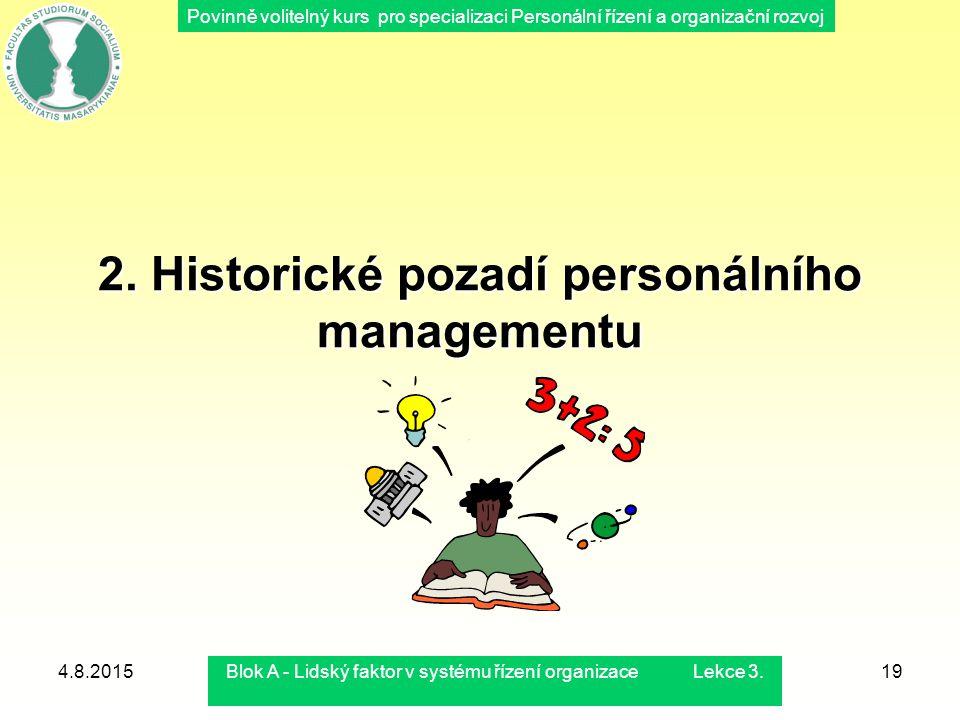 Povinně volitelný kurs pro specializaci Personální řízení a organizační rozvoj 4.8.2015Blok A - Lidský faktor v systému řízení organizace Lekce 3.19 2