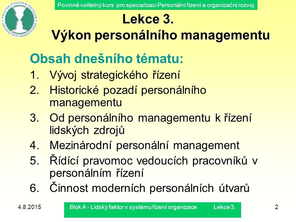 Povinně volitelný kurs pro specializaci Personální řízení a organizační rozvoj 4.8.2015Blok A - Lidský faktor v systému řízení organizace Lekce 3.2 Le