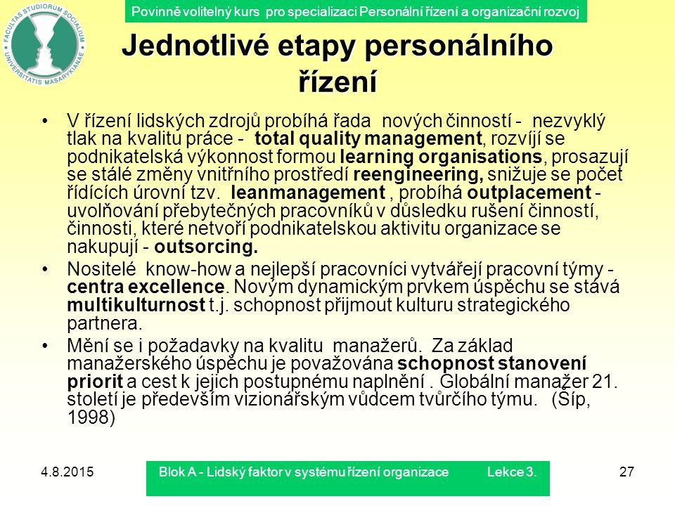 Povinně volitelný kurs pro specializaci Personální řízení a organizační rozvoj 4.8.2015Blok A - Lidský faktor v systému řízení organizace Lekce 3.27 V