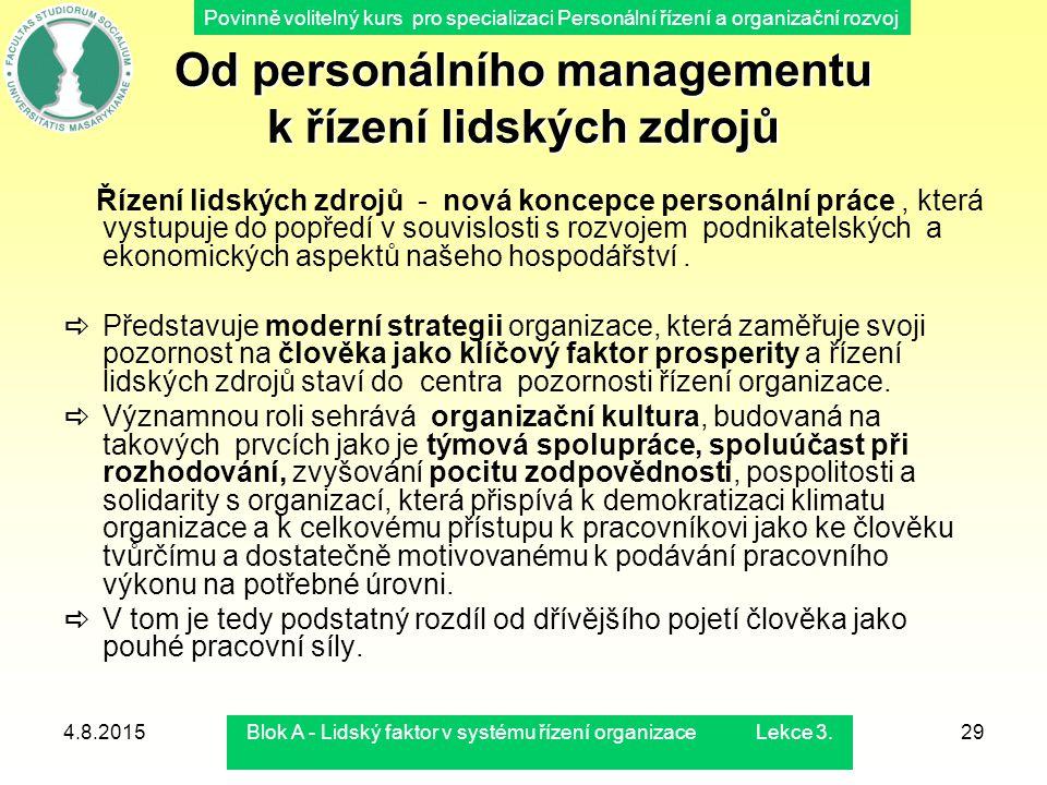 Povinně volitelný kurs pro specializaci Personální řízení a organizační rozvoj 4.8.2015Blok A - Lidský faktor v systému řízení organizace Lekce 3.29 O