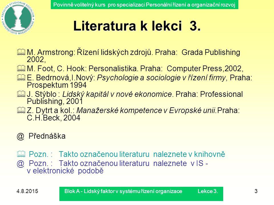 Povinně volitelný kurs pro specializaci Personální řízení a organizační rozvoj 4.8.2015Blok A - Lidský faktor v systému řízení organizace Lekce 3.3 Li