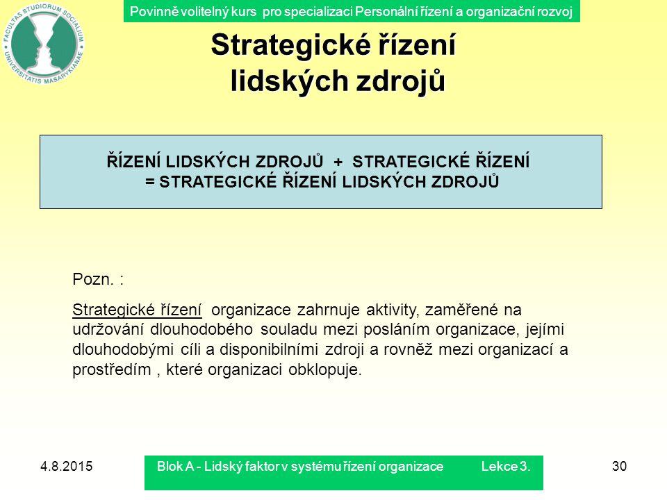 Povinně volitelný kurs pro specializaci Personální řízení a organizační rozvoj 4.8.2015Blok A - Lidský faktor v systému řízení organizace Lekce 3.30 S