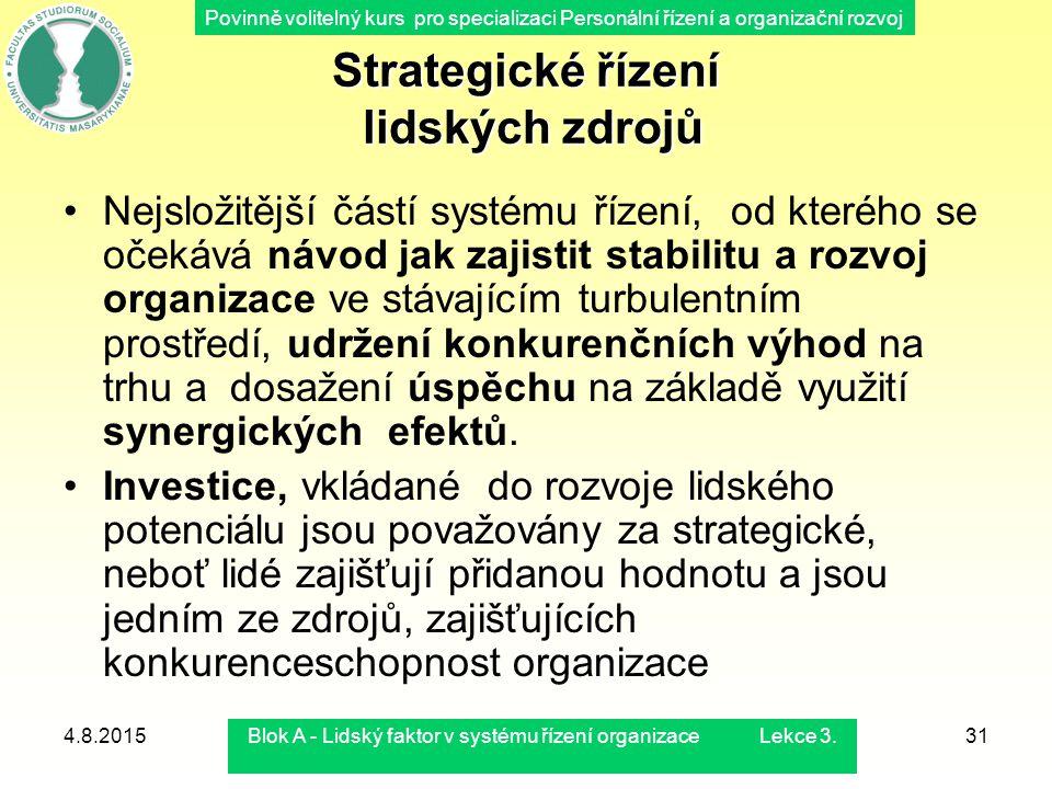 Povinně volitelný kurs pro specializaci Personální řízení a organizační rozvoj 4.8.2015Blok A - Lidský faktor v systému řízení organizace Lekce 3.31 S