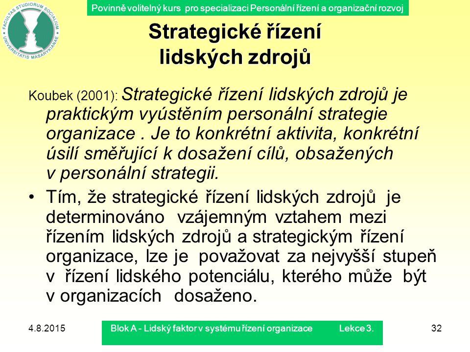 Povinně volitelný kurs pro specializaci Personální řízení a organizační rozvoj 4.8.2015Blok A - Lidský faktor v systému řízení organizace Lekce 3.32 S