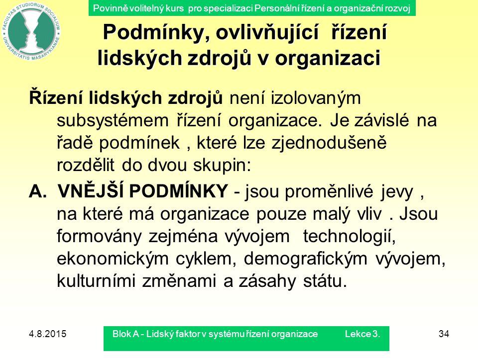 Povinně volitelný kurs pro specializaci Personální řízení a organizační rozvoj 4.8.2015Blok A - Lidský faktor v systému řízení organizace Lekce 3.34 P