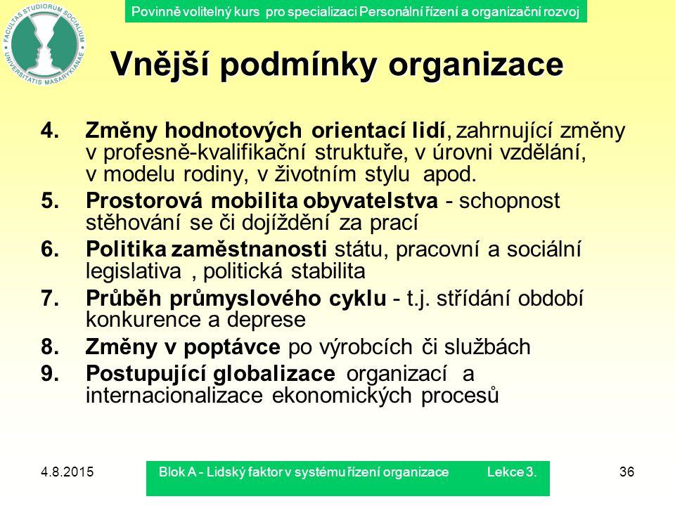 Povinně volitelný kurs pro specializaci Personální řízení a organizační rozvoj 4.8.2015Blok A - Lidský faktor v systému řízení organizace Lekce 3.36 V