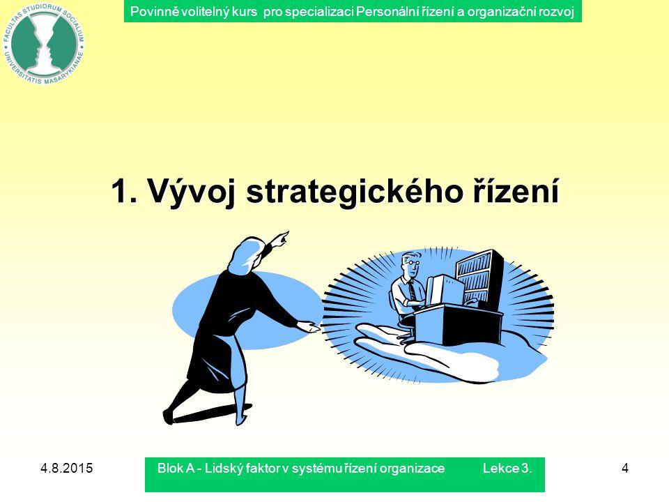 Povinně volitelný kurs pro specializaci Personální řízení a organizační rozvoj 4.8.2015Blok A - Lidský faktor v systému řízení organizace Lekce 3.4 1.
