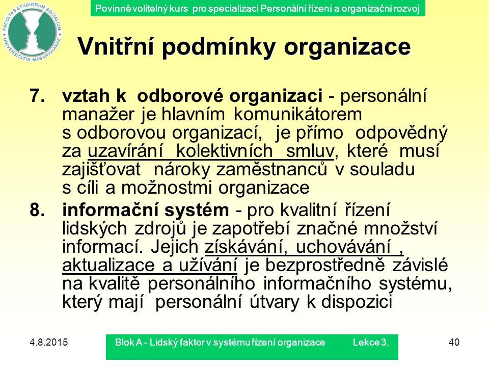 Povinně volitelný kurs pro specializaci Personální řízení a organizační rozvoj 4.8.2015Blok A - Lidský faktor v systému řízení organizace Lekce 3.40 7