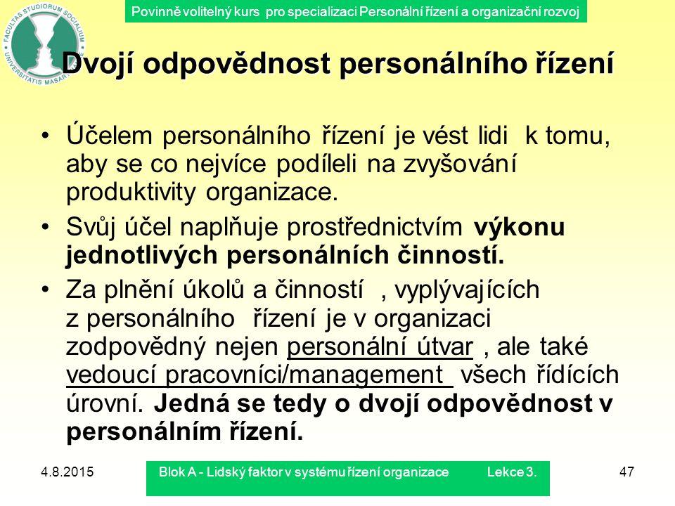 Povinně volitelný kurs pro specializaci Personální řízení a organizační rozvoj 4.8.2015Blok A - Lidský faktor v systému řízení organizace Lekce 3.47 D