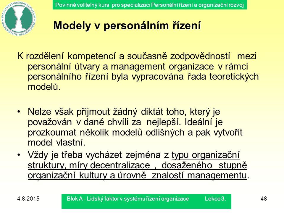Povinně volitelný kurs pro specializaci Personální řízení a organizační rozvoj 4.8.2015Blok A - Lidský faktor v systému řízení organizace Lekce 3.48 K