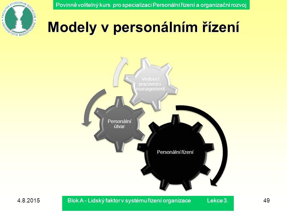 Povinně volitelný kurs pro specializaci Personální řízení a organizační rozvoj Modely v personálním řízení Personální řízení Personální útvar Vedoucí
