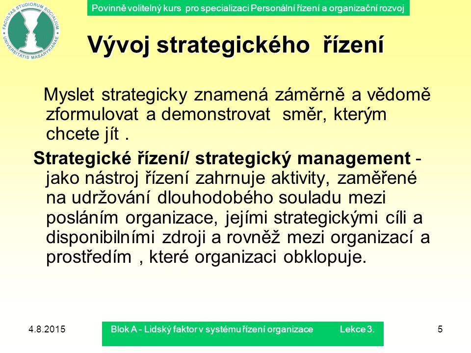 Povinně volitelný kurs pro specializaci Personální řízení a organizační rozvoj 4.8.2015Blok A - Lidský faktor v systému řízení organizace Lekce 3.5 Vý