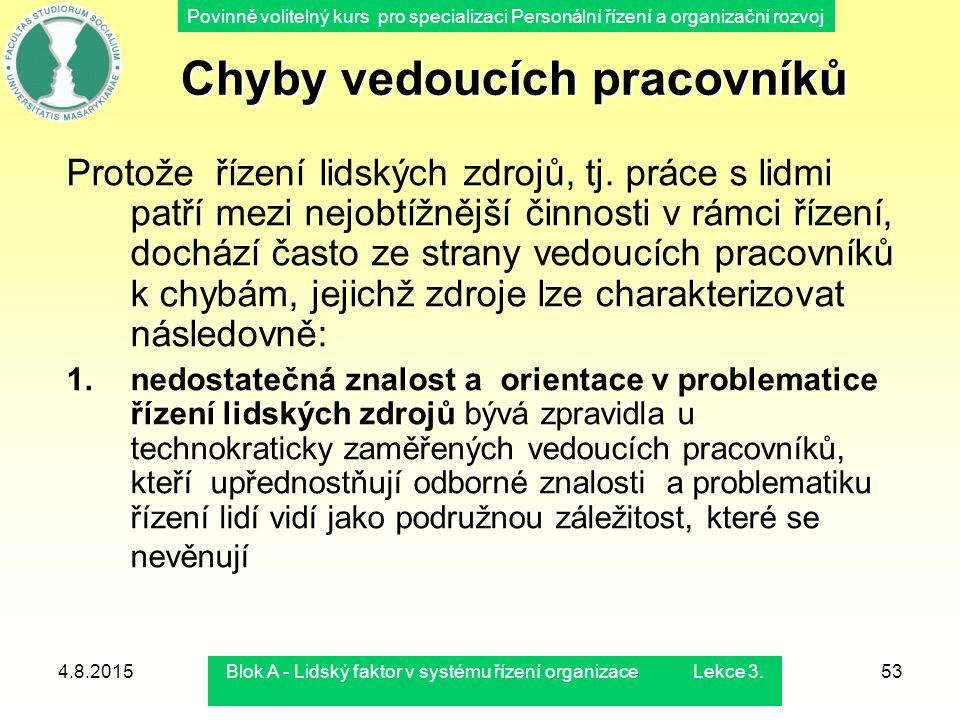 Povinně volitelný kurs pro specializaci Personální řízení a organizační rozvoj 4.8.2015Blok A - Lidský faktor v systému řízení organizace Lekce 3.53 P
