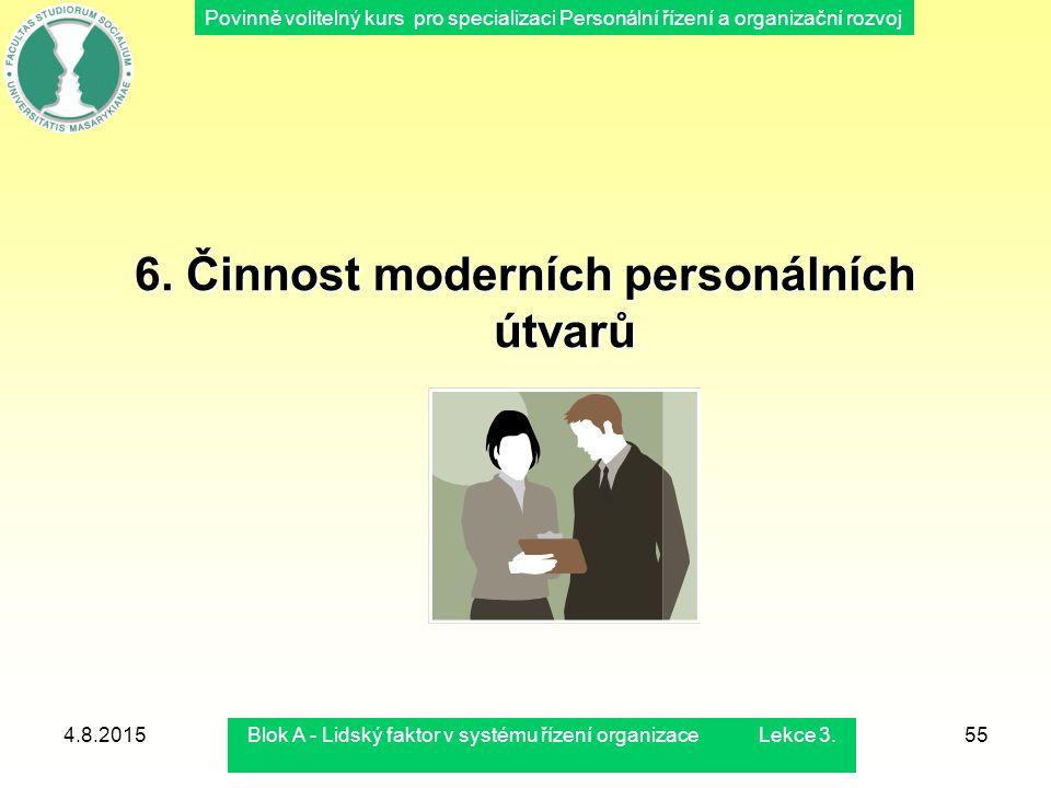 Povinně volitelný kurs pro specializaci Personální řízení a organizační rozvoj 4.8.2015Blok A - Lidský faktor v systému řízení organizace Lekce 3.55 6