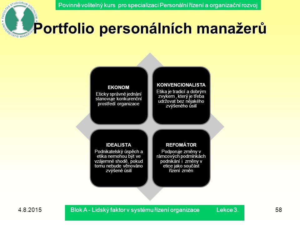 Povinně volitelný kurs pro specializaci Personální řízení a organizační rozvoj Portfolio personálních manažerů EKONOM Eticky správné jednání stanovuje