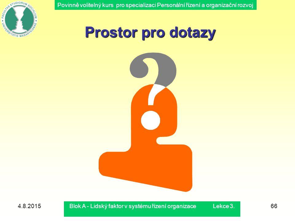 Povinně volitelný kurs pro specializaci Personální řízení a organizační rozvoj 4.8.2015Blok A - Lidský faktor v systému řízení organizace Lekce 3.66 P