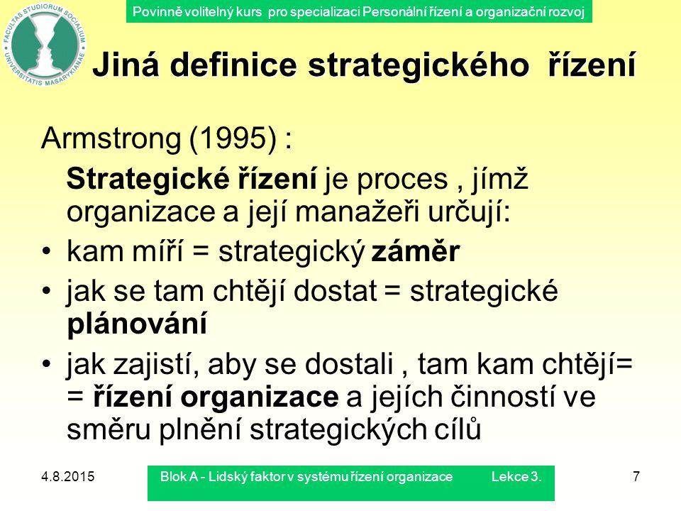 Povinně volitelný kurs pro specializaci Personální řízení a organizační rozvoj 4.8.2015Blok A - Lidský faktor v systému řízení organizace Lekce 3.7 Ji