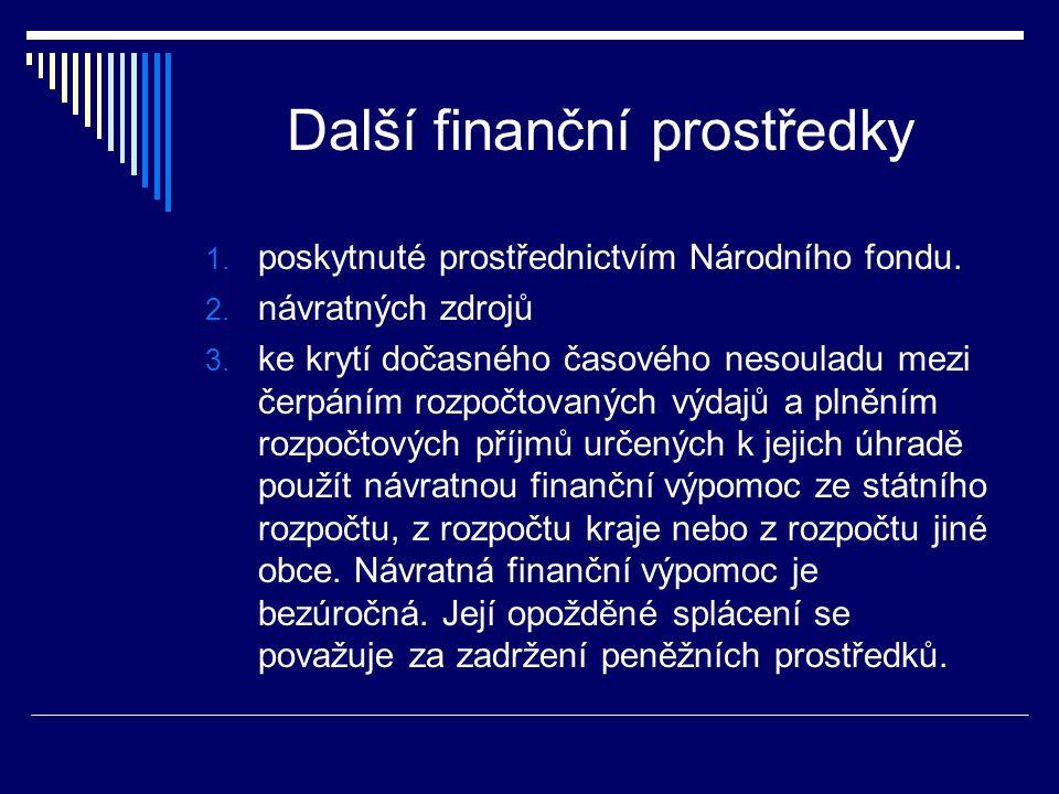 Další finanční prostředky 1. poskytnuté prostřednictvím Národního fondu. 2. návratných zdrojů 3. ke krytí dočasného časového nesouladu mezi čerpáním r