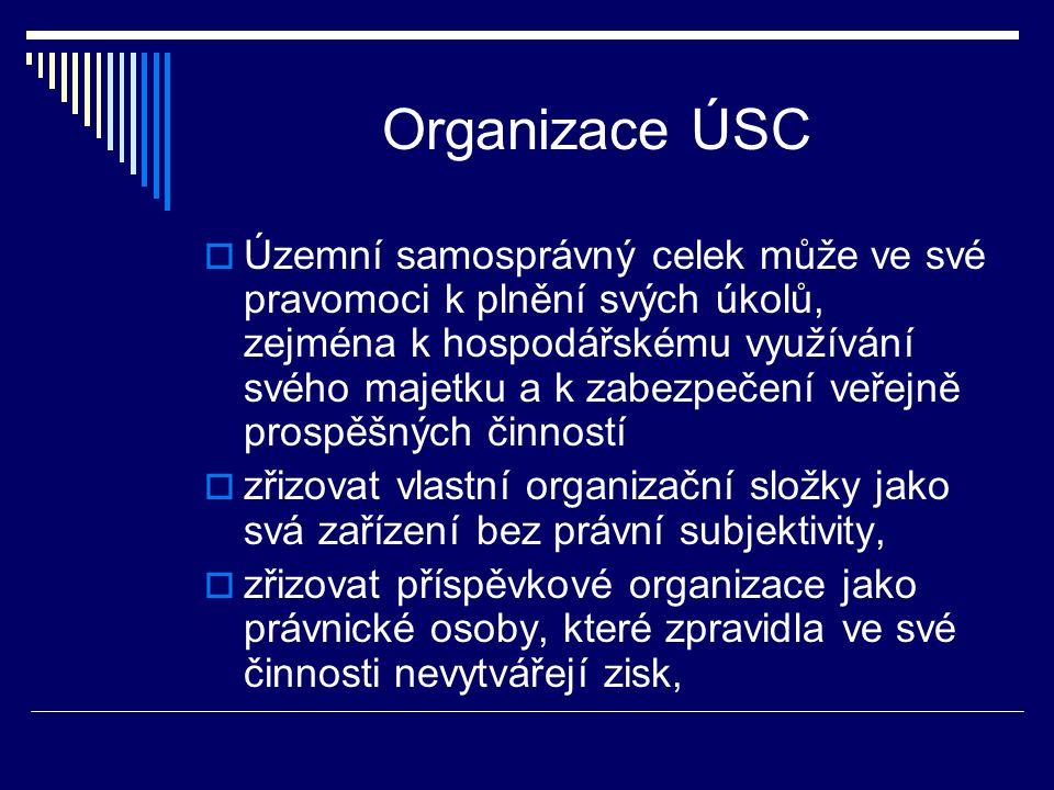 Organizace ÚSC  Územní samosprávný celek může ve své pravomoci k plnění svých úkolů, zejména k hospodářskému využívání svého majetku a k zabezpečení