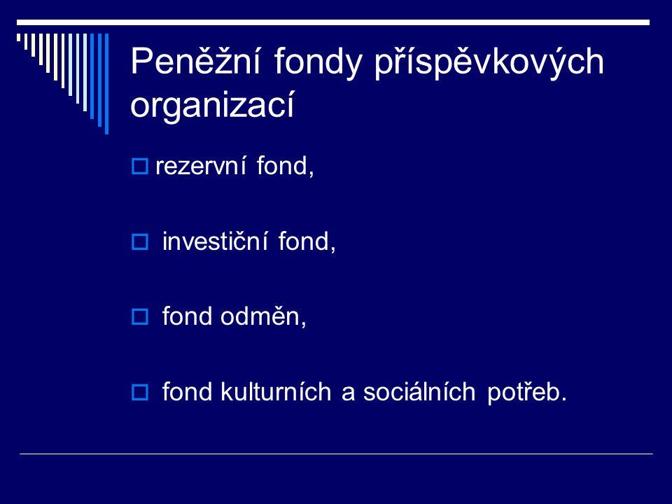 Peněžní fondy příspěvkových organizací  rezervní fond,  investiční fond,  fond odměn,  fond kulturních a sociálních potřeb.