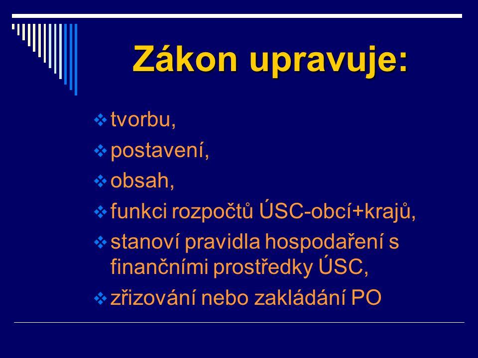 Zákon upravuje:  tvorbu,  postavení,  obsah,  funkci rozpočtů ÚSC-obcí+krajů,  stanoví pravidla hospodaření s finančními prostředky ÚSC,  zřizov