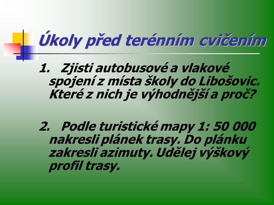 Úkoly před terénním cvičením 1. Zjisti autobusové a vlakové spojení z místa školy do Libošovic. Které z nich je výhodnější a proč? 2. Podle turistické