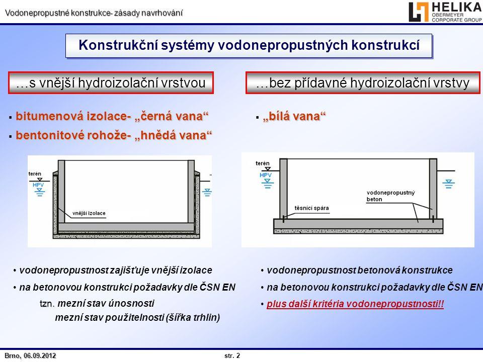 str. 2 Brno, 06.09.2012 Vodonepropustné konstrukce- zásady navrhování Konstrukční systémy vodonepropustných konstrukcí …s vnější hydroizolační vrstvou