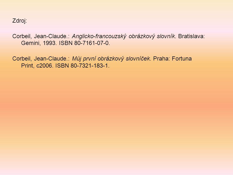 Zdroj: Corbeil, Jean-Claude.: Anglicko-francouzský obrázkový slovník. Bratislava: Gemini, 1993. ISBN 80-7161-07-0. Corbeil, Jean-Claude.: Můj první ob