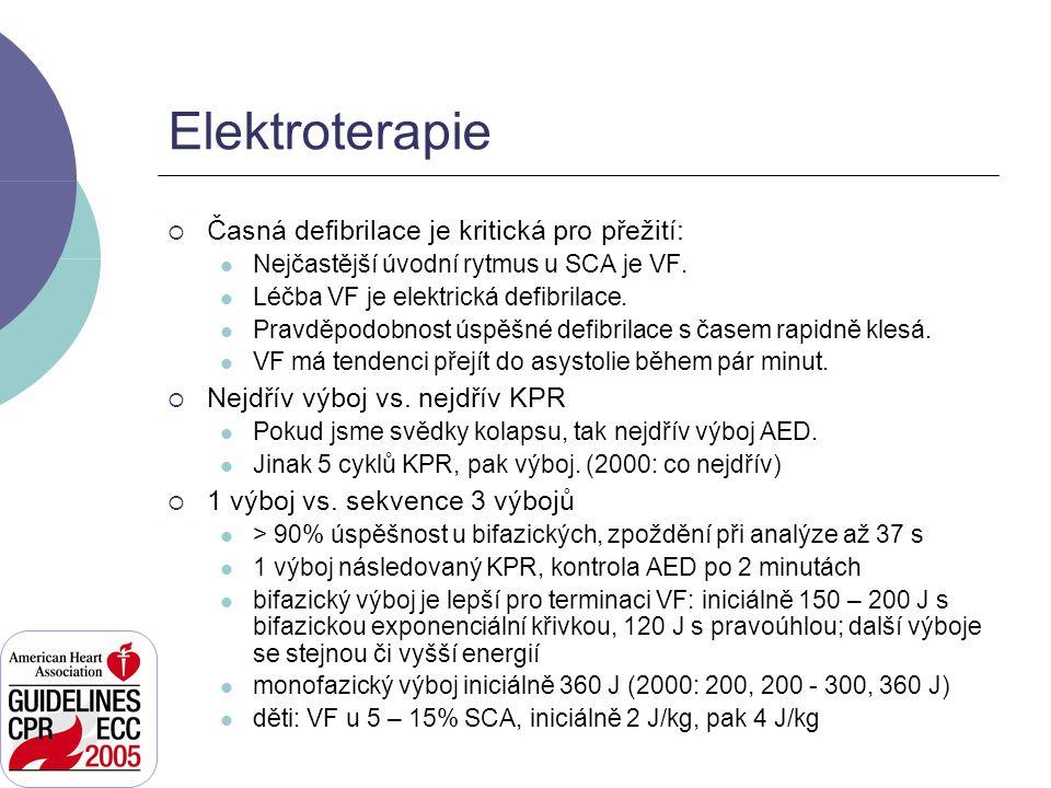 Elektroterapie  Časná defibrilace je kritická pro přežití: Nejčastější úvodní rytmus u SCA je VF. Léčba VF je elektrická defibrilace. Pravděpodobnost