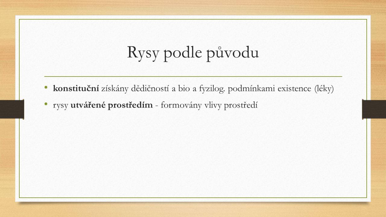 Rysy podle původu konstituční získány dědičností a bio a fyzilog.