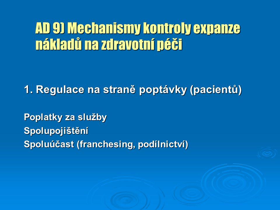 AD 9) Mechanismy kontroly expanze nákladů na zdravotní péči 1. Regulace na straně poptávky (pacientů) Poplatky za služby Spolupojištění Spoluúčast (fr