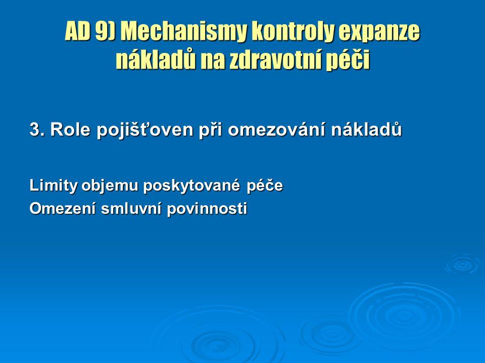 AD 9) Mechanismy kontroly expanze nákladů na zdravotní péči 3. Role pojišťoven při omezování nákladů Limity objemu poskytované péče Omezení smluvní po