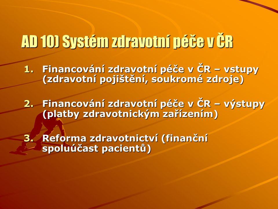 AD 10) Systém zdravotní péče v ČR 1.Financování zdravotní péče v ČR – vstupy (zdravotní pojištění, soukromé zdroje) 2.Financování zdravotní péče v ČR