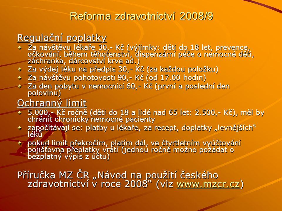Reforma zdravotnictví 2008/9 Regulační poplatky Za návštěvu lékaře 30,- Kč (výjimky: děti do 18 let, prevence, očkování, během těhotenství, dispenzárn