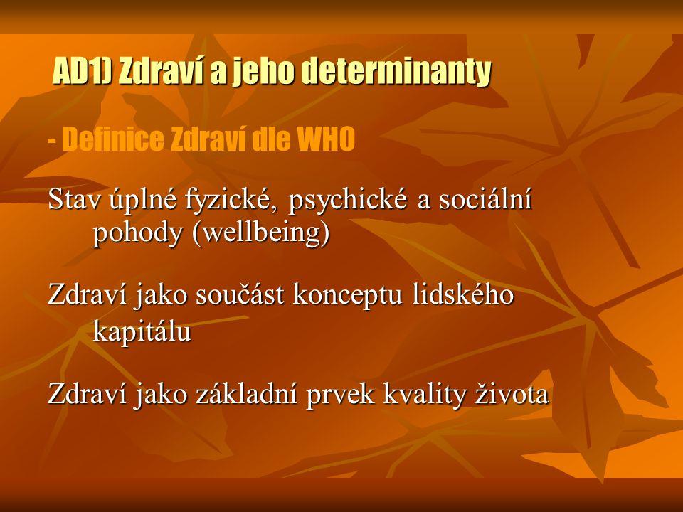 AD1) Zdraví a jeho determinanty - Definice Zdraví dle WHO Stav úplné fyzické, psychické a sociální pohody (wellbeing) Zdraví jako součást konceptu lid