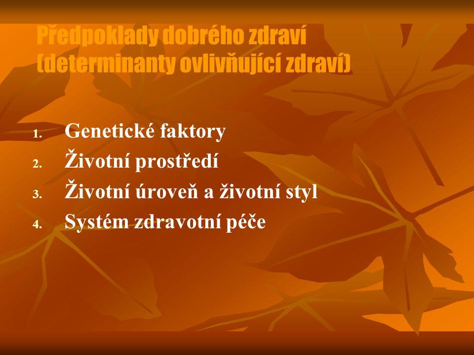 Předpoklady dobrého zdraví (determinanty ovlivňující zdraví) 1. 1. Genetické faktory 2. 2. Životní prostředí 3. 3. Životní úroveň a životní styl 4. 4.