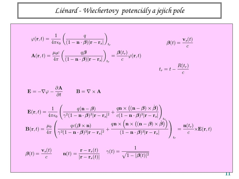 Liénard - Wiechertovy potenciály a jejich pole 11 The retarded time can be calculated as:
