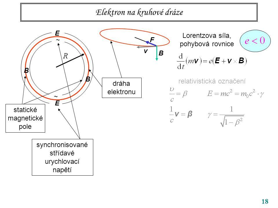 18 Elektron na kruhové dráze ~ ~ R B B dráha elektronu Lorentzova síla, pohybová rovnice relativistická označení v B F E E synchronisované střídavé urychlovací napětí statické magnetické pole