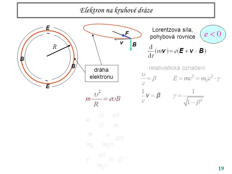 19 Elektron na kruhové dráze ~ ~ R B B dráha elektronu Lorentzova síla, pohybová rovnice relativistická označení v B F E E