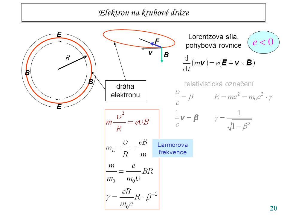 20 Elektron na kruhové dráze ~ ~ R B B dráha elektronu Lorentzova síla, pohybová rovnice Larmorova frekvence v B F E E relativistická označení