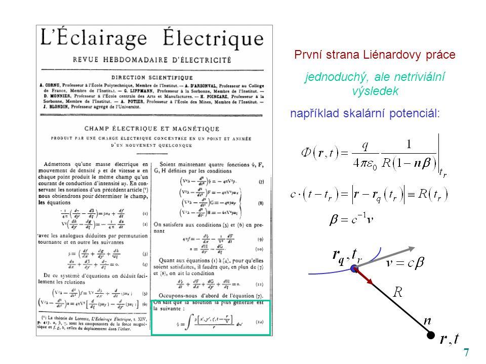 7 První strana Liénardovy práce jednoduchý, ale netriviální výsledek například skalární potenciál: